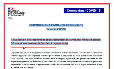 Service aux familles et Covid-19 actualisation des recommandations du 05/03/2021